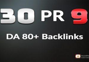 Boost Rankings with 30 Pr9 DA 80+ Authority Backlinks